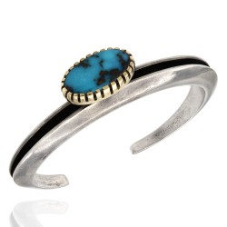 Hopi Charles Loloma Sterling Silver 14K Yellow Gold Turquoise Cuff Bracelet