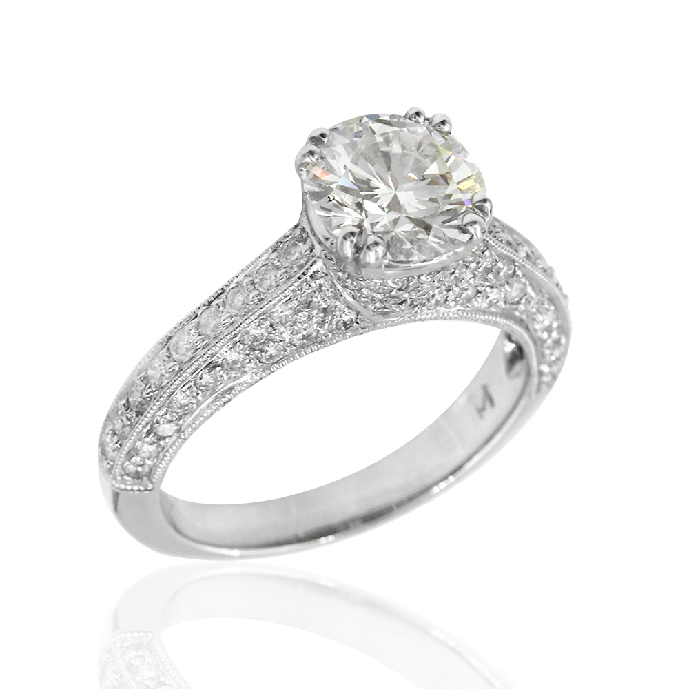 18kw Pave 3 Side Diamond Engagement Ring