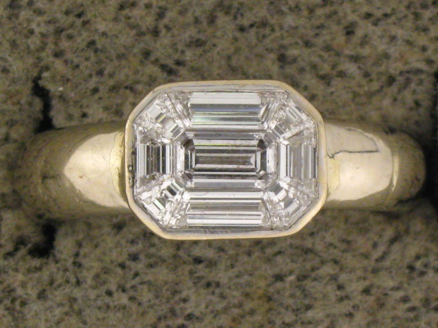Mixed Cut Diamond Ring in White Gold
