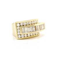 Charles Krypell Vintage Art Deco Inspired Diamond Ring in 18K Yellow Gold