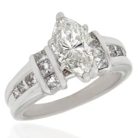 Marquise Diamond Engagement Ring with Princess Diamond Accents in Gold