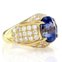 Sapphire & Pave Diamond Dome Ring in 20K Yellow Gold