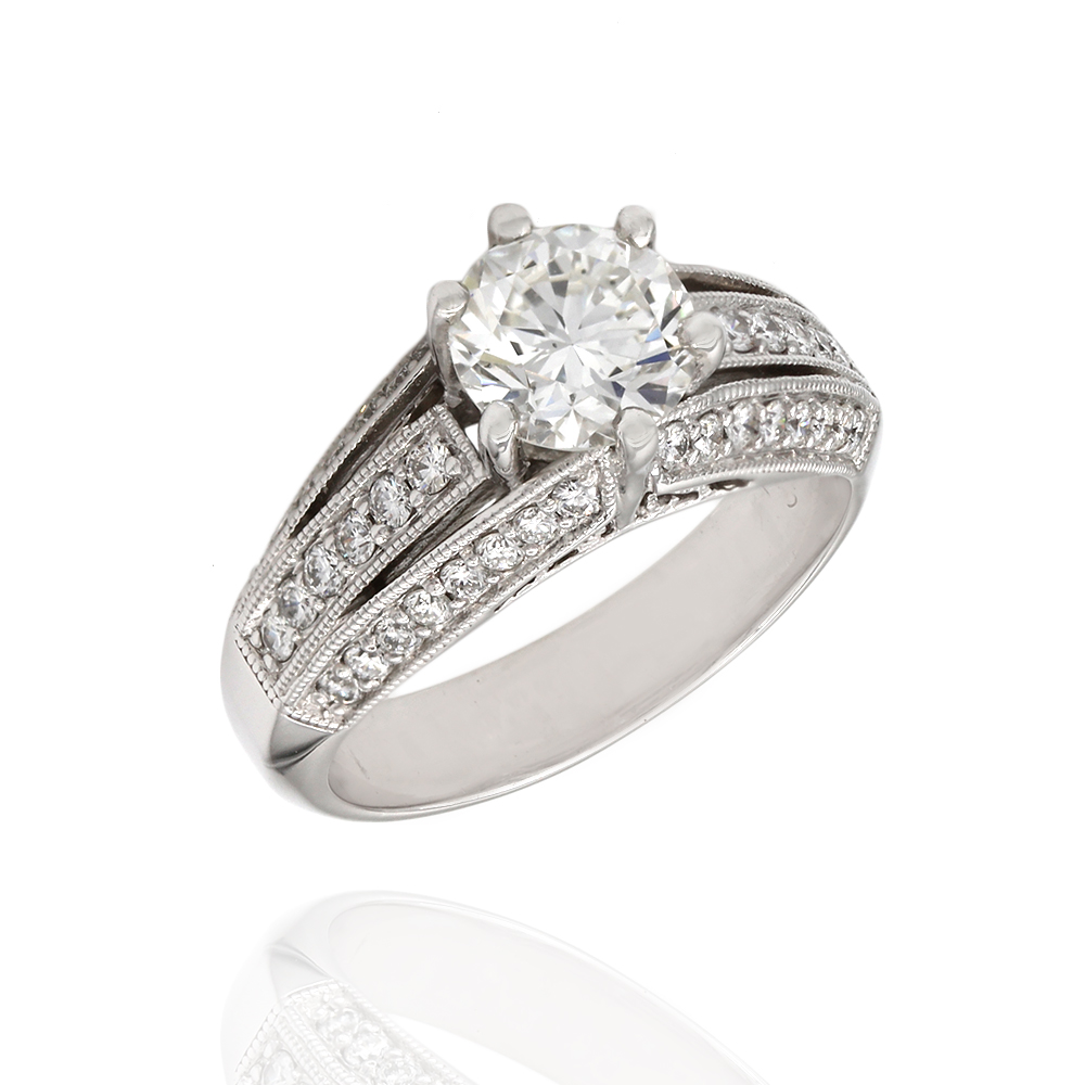 14kw 3 Row Diamond Engagement Ring Round Center