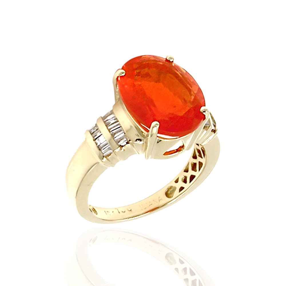 Mexican Fire Opal and Diamond Ring in 18k Yellow Gold