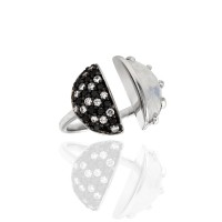Laura Medine Moonstone Ring with Black and White Diamonds in Gold