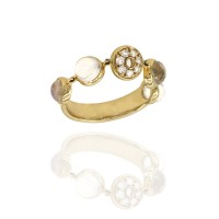 Laura Medine Moonstone and Diamond Ring in Gold