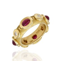 Ruby and Diamond Eternity Band in Gold