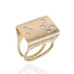Modernist Diamond Ring in Gold