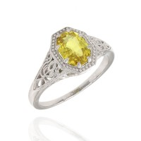 Yellow Sapphire Solitaire Ring in Platinum