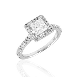 Princess Diamond Halo Engagement Ring Mounting in Gold