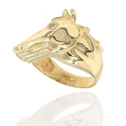 Gold Horse Head Ring with Diamond Eye