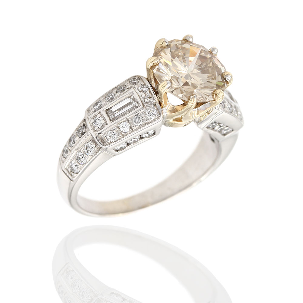 Cognac Diamond Solitaire Ring in Gold