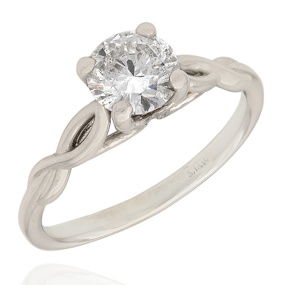 Round Diamond Solitaire Ring with Twisted Shank