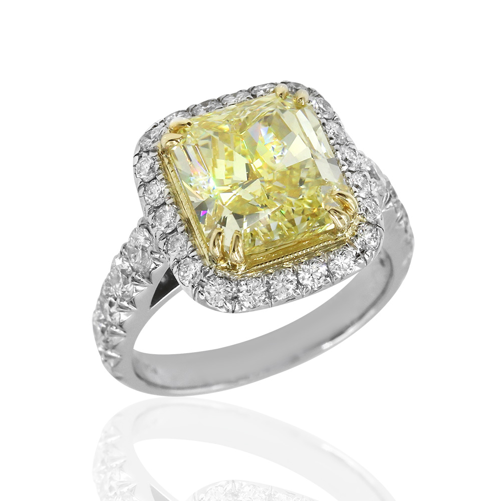 Yellow Diamond Solitaire Halo Ring in Platinum and Gold