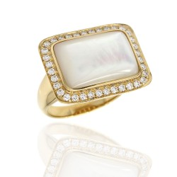 Mother of Pearl and Diamond Halo Ring in Gold