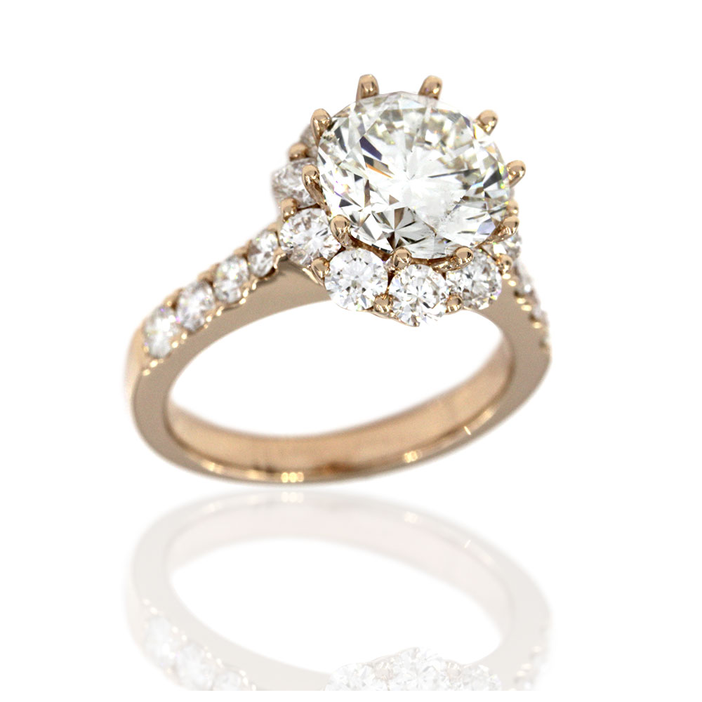 18KR Halo Diamond Engagement Ring with Round Center