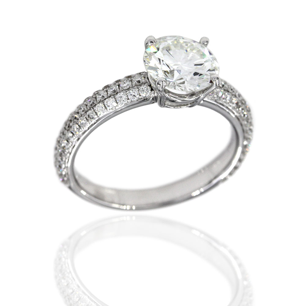 18KW Pave Diamond Engagment Ring with Round Center