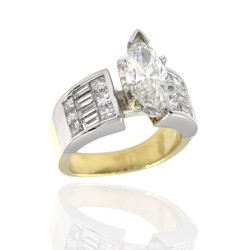 18KTT Princess / Baguette Engagement Ring with Marquise Center