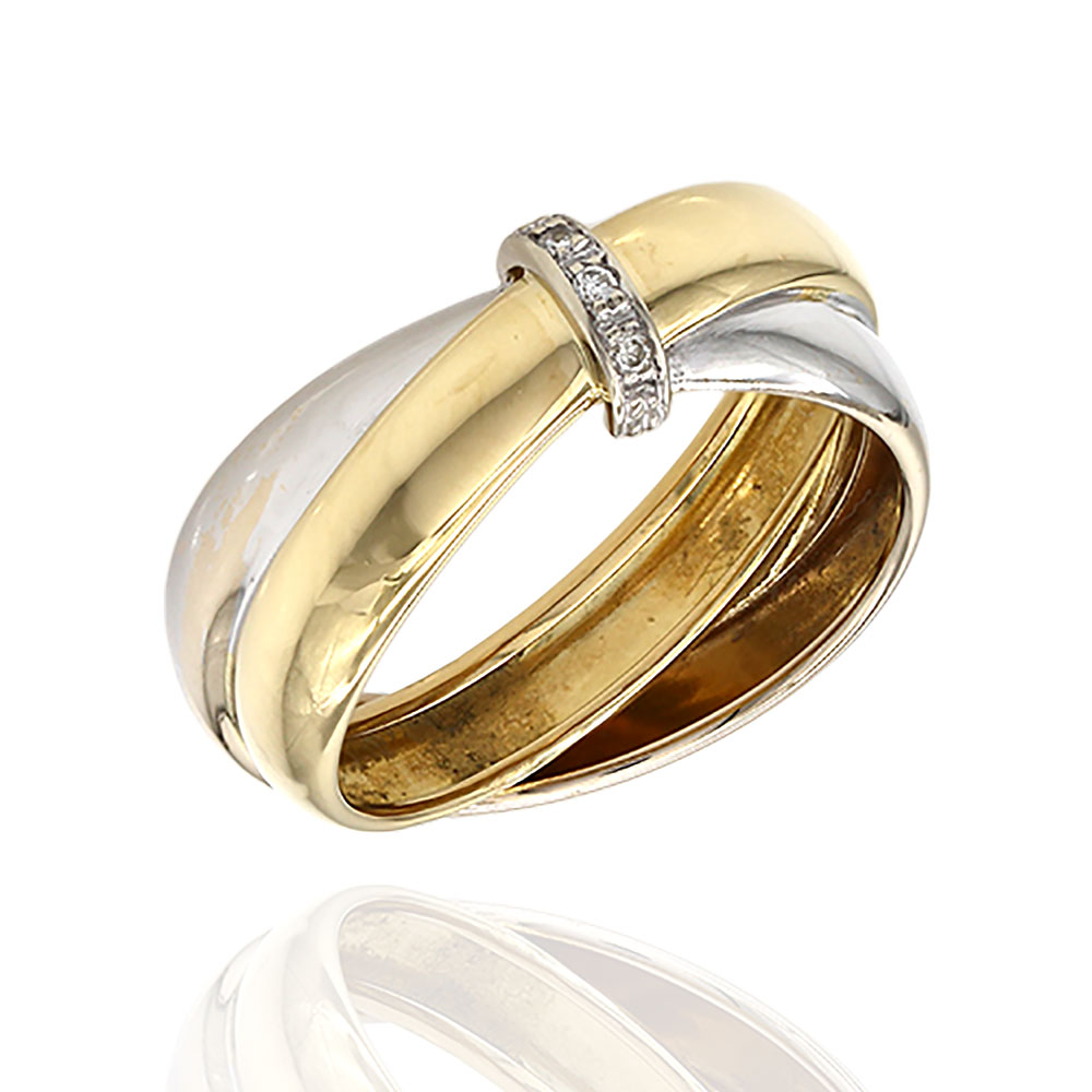 Crossover Ring with Diamond Accent in Gold