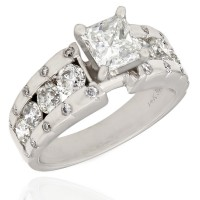 Channel and Flush Set Diamond Engagement Ring with 1ct Princess Center in 14kw