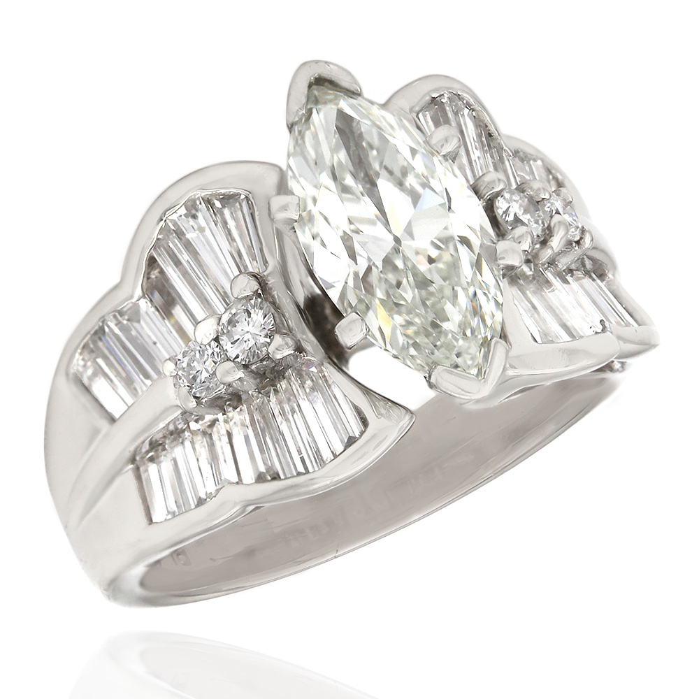Round and Tapered Baguette Engagement Ring with 1.66ct Marquise Center in Platinum