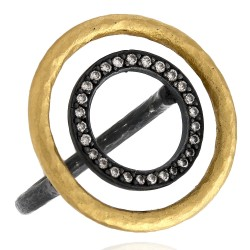 Lika Behar Circle Orbit Ring with Diamond Accents in 24k Gold and Oxidized Silver