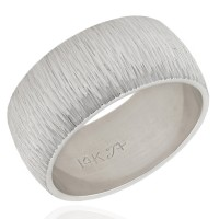 14K Brushed Band Ring in White Gold
