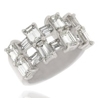 2 Row Emerald Cut and Baguette Diamond Ring