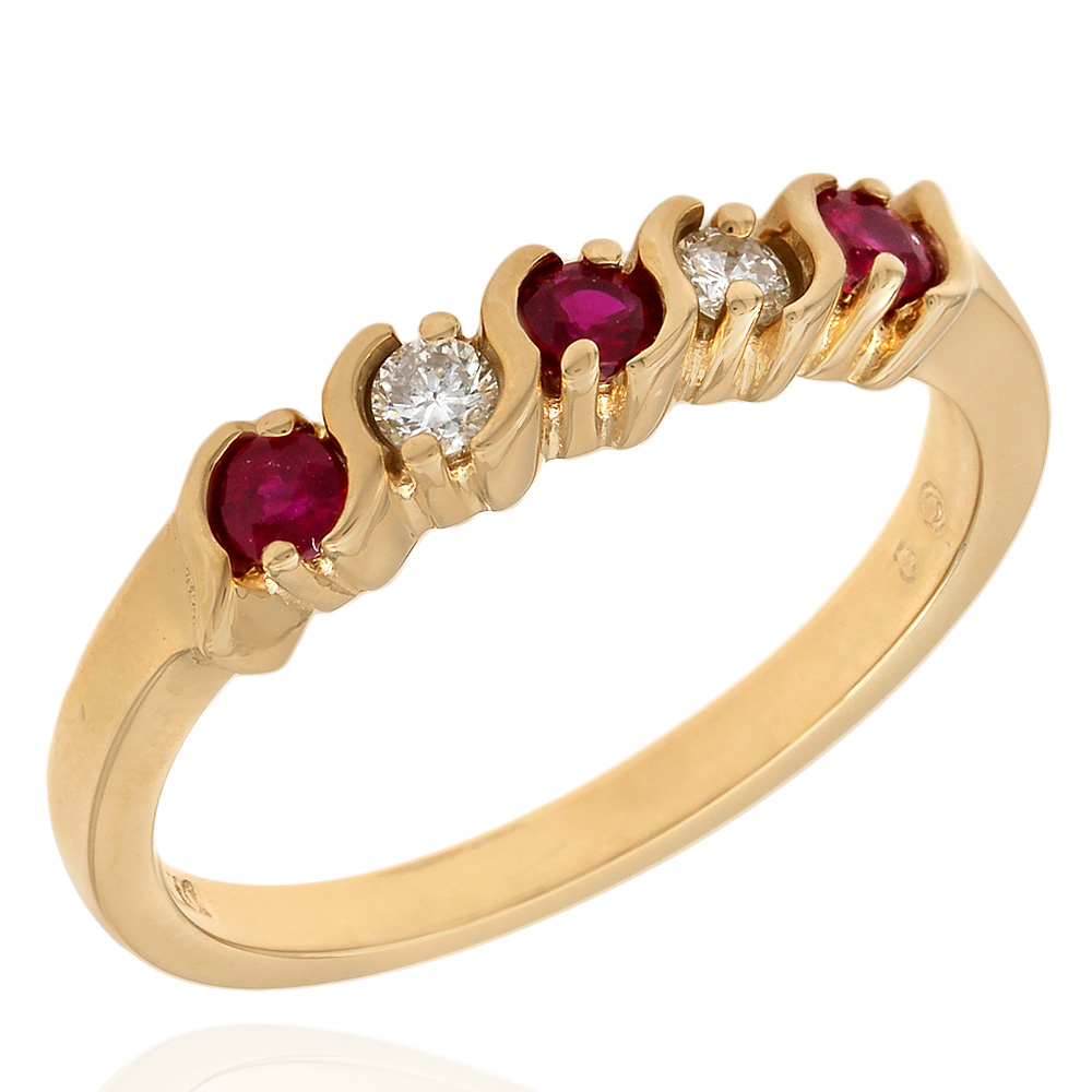 Alternating Ruby and Diamond Band Ring
