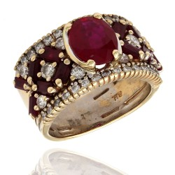 Oval and Baguette Ruby and Diamond Fashion Ring