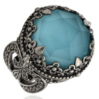 Konstantino Faceted Aquamarine Ring in Silver