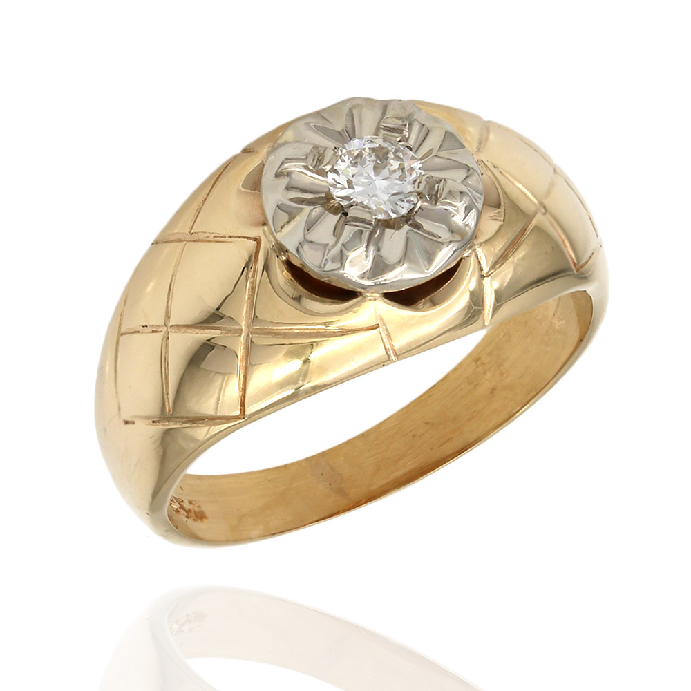 Gentlemans Diamond Solitaire Dome Ring