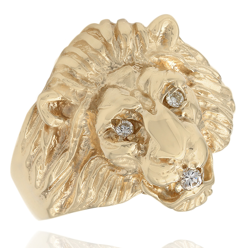 Lion Head Ring with Diamond Accents in Gold