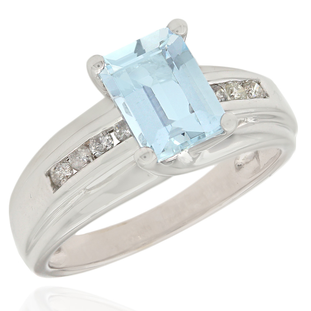 Emerald Cut Aquamarine and Diamond Ring