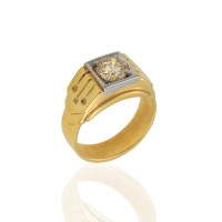 Champagne Diamond Solitaire Ring in Gold