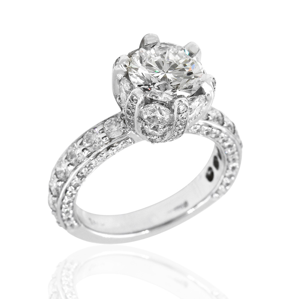 18kw Diamond Engagement Ring, Diamond Covered Crown, Round Center