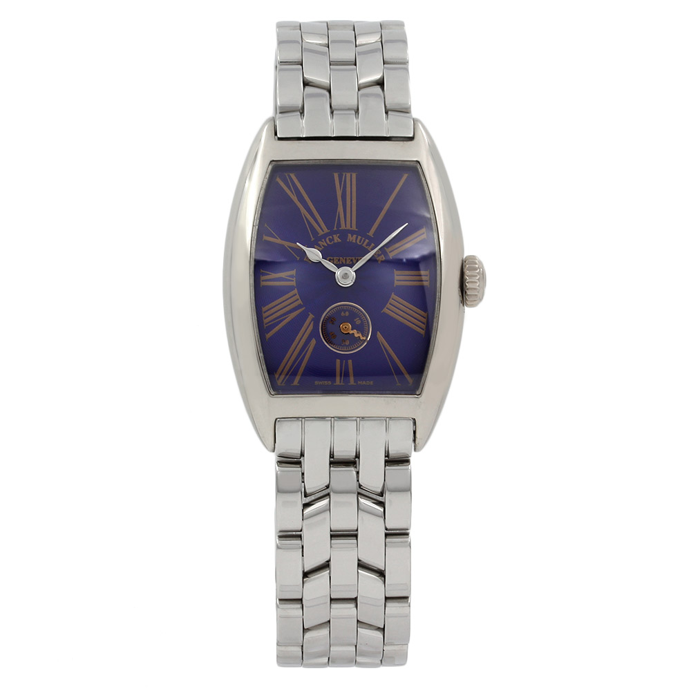 Franck Muller Stainless Steel & 18KW Blue Cintree Curvex 1750S6PM
