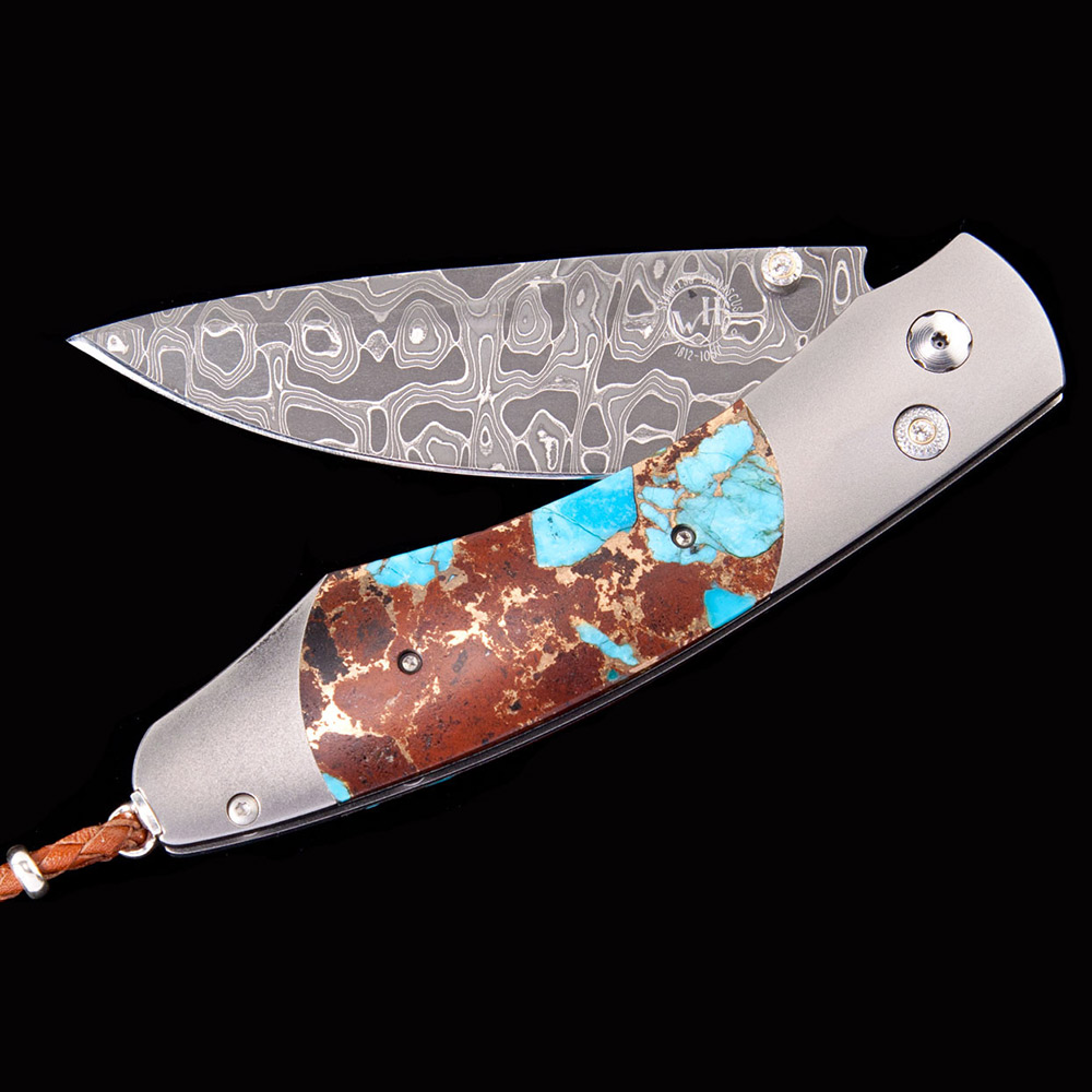 William Henry B12 Volcano Turquoise Lava Rock Pocket Knife