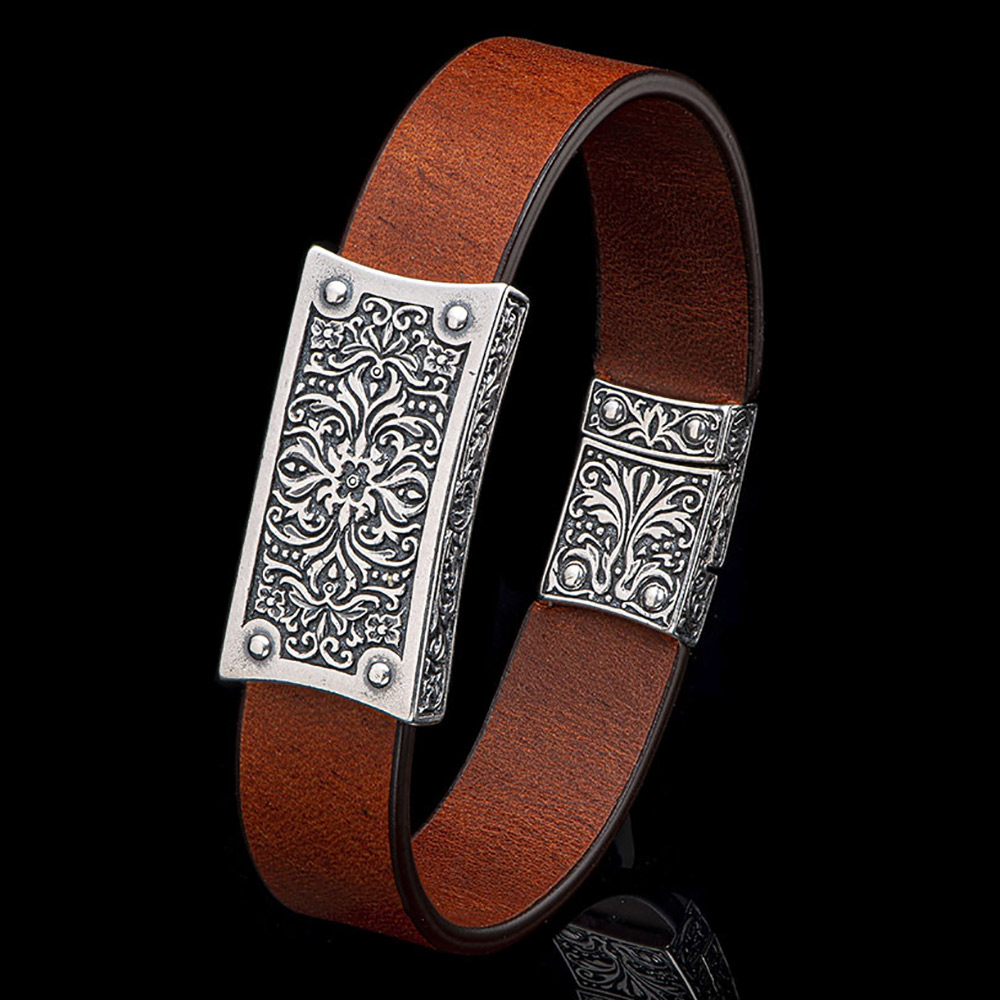 William Henry Venice Sterling Silver Brown Leather Bracelet LC192 TS BRN