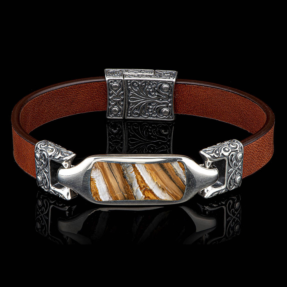 William Henry Florence Sterling Silver Mammoth Tooth & Leather Bracelet LC193 TMT BRN