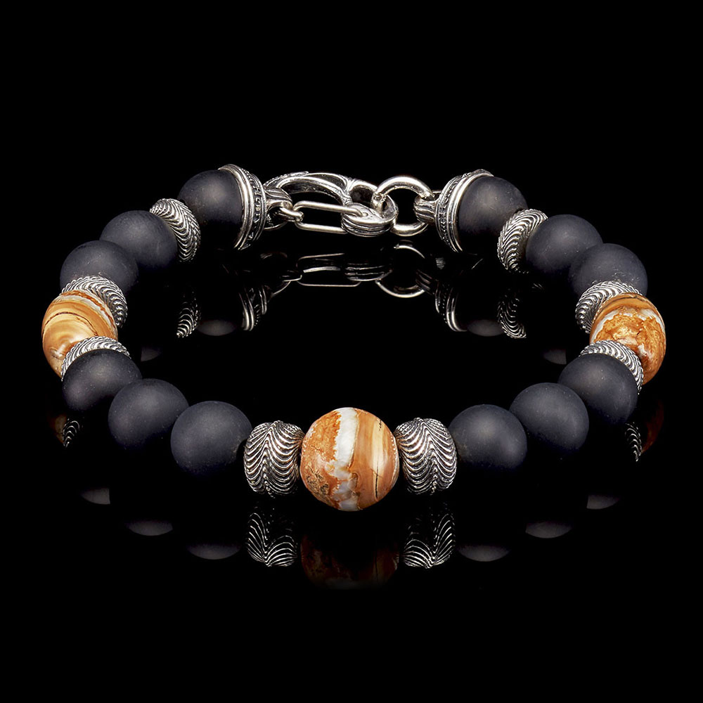 William Henry Ice Age Sterling Silver Onyx & Mammoth Tooth Bead Bracelet