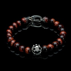 William Henry Mens Sunset Sterling Silver Red Tiger's Eye Onyx Skulll Bead Bracelet