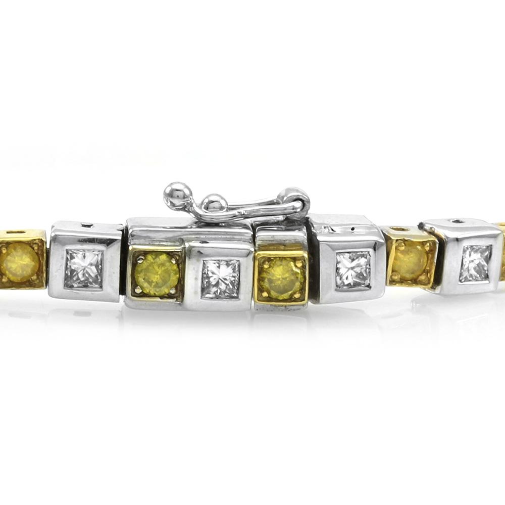 Contemporary Yellow and White Diamond Bracelet in Gold