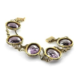 Victorian Amethyst & Seed Pearl Halo Link Bracelet in 14K Yellow Gold