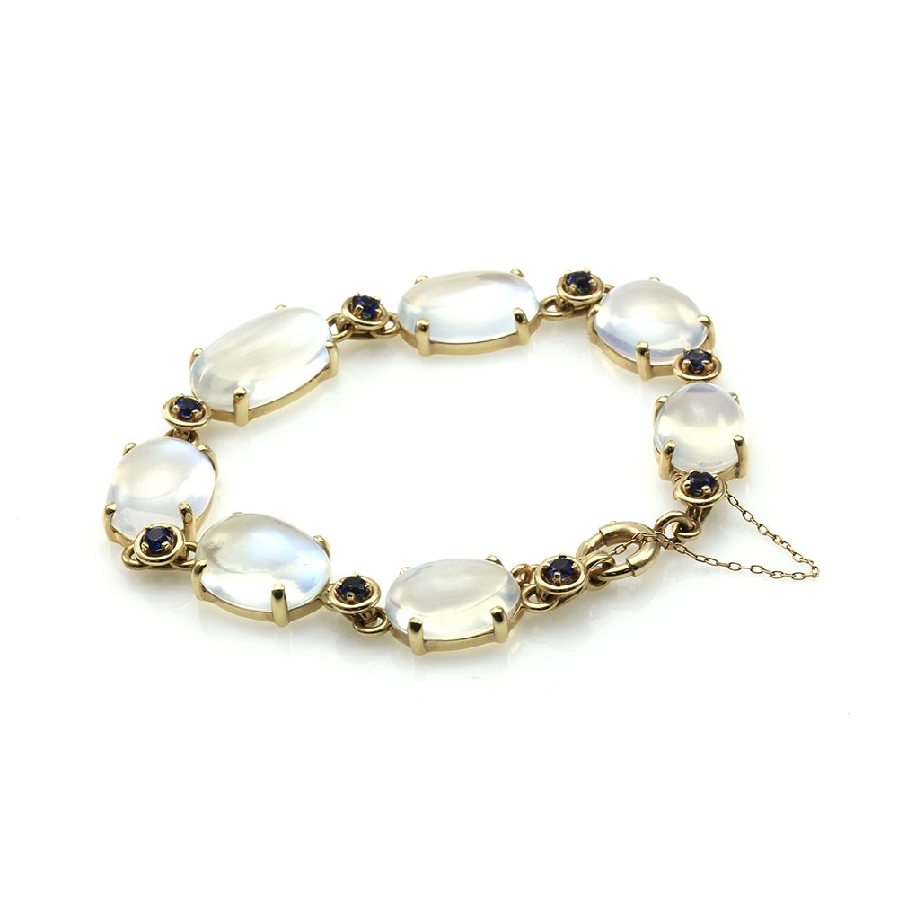 Moonstone and Blue Sapphire Bracelet in Gold