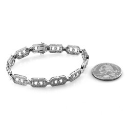 Pave Diamond Elongated Octagonal Open Link Bracelet in 14K White Gold