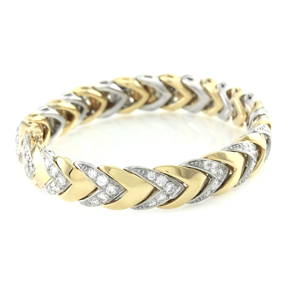 Pave Diamond Bracelet with Chevoron Design in 18K Yellow Gold and Platinum
