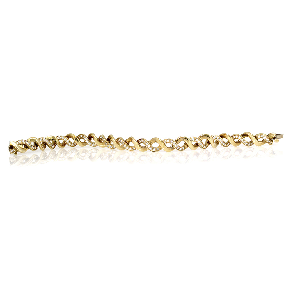Crossover Eternity Bracelet with Pave Diamonds in Gold