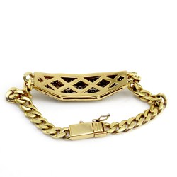 Pave Diamond Cluster Station Bracelet on Curb Chain in 18K Yellow Gold