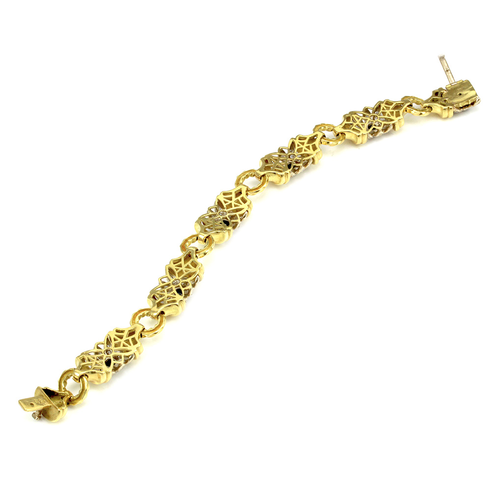 SeidenGang Blue Sapphire & Diamond Flower Link Bracelet in 18K Gold